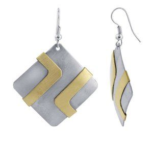 Two Tone 1.4 inch Square Designer Drop Earrings